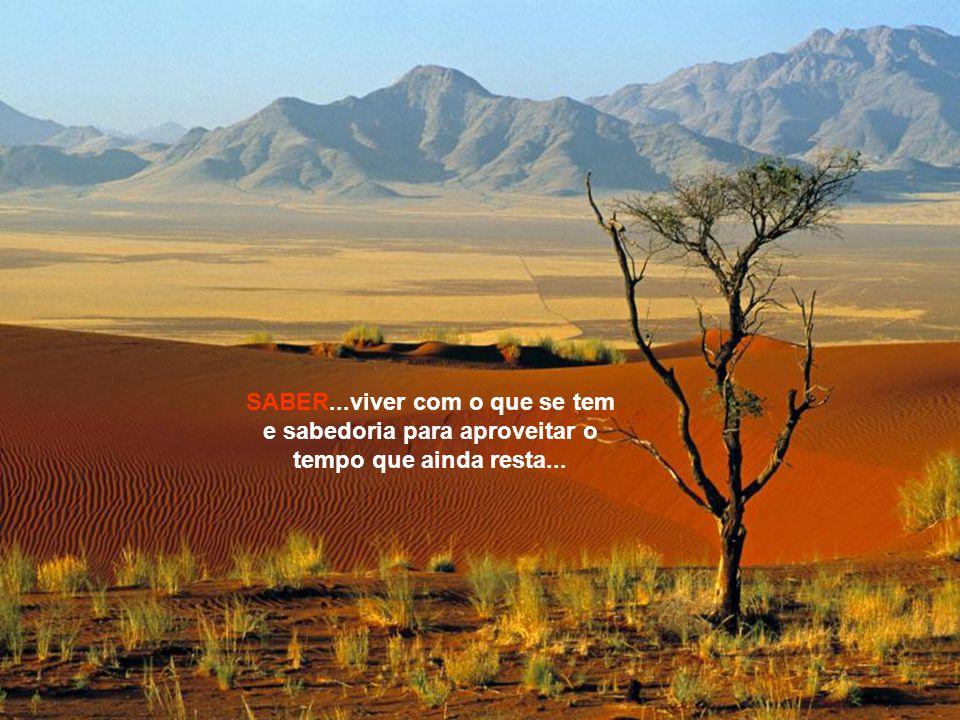 SABER...viver com o que se tem e sabedoria para aproveitar o tempo que ainda resta...