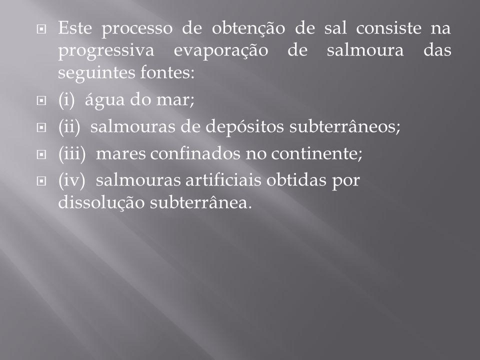 Este processo de obtenção de sal consiste na progressiva evaporação de salmoura das seguintes fontes: