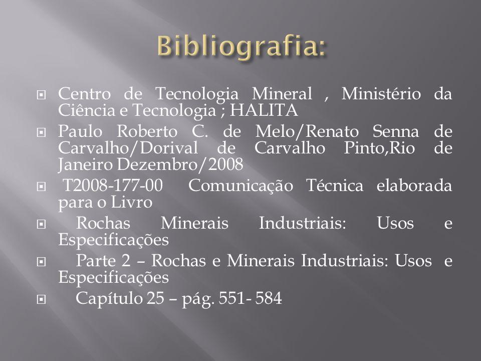 Bibliografia: Centro de Tecnologia Mineral , Ministério da Ciência e Tecnologia ; HALITA.