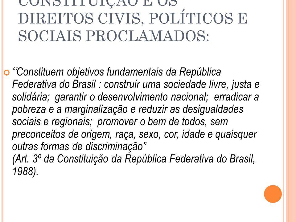 CONSTITUIÇÃO E OS DIREITOS CIVIS, POLÍTICOS E SOCIAIS PROCLAMADOS: