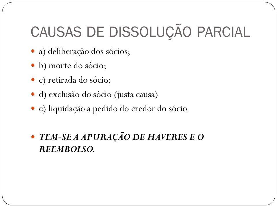 CAUSAS DE DISSOLUÇÃO PARCIAL