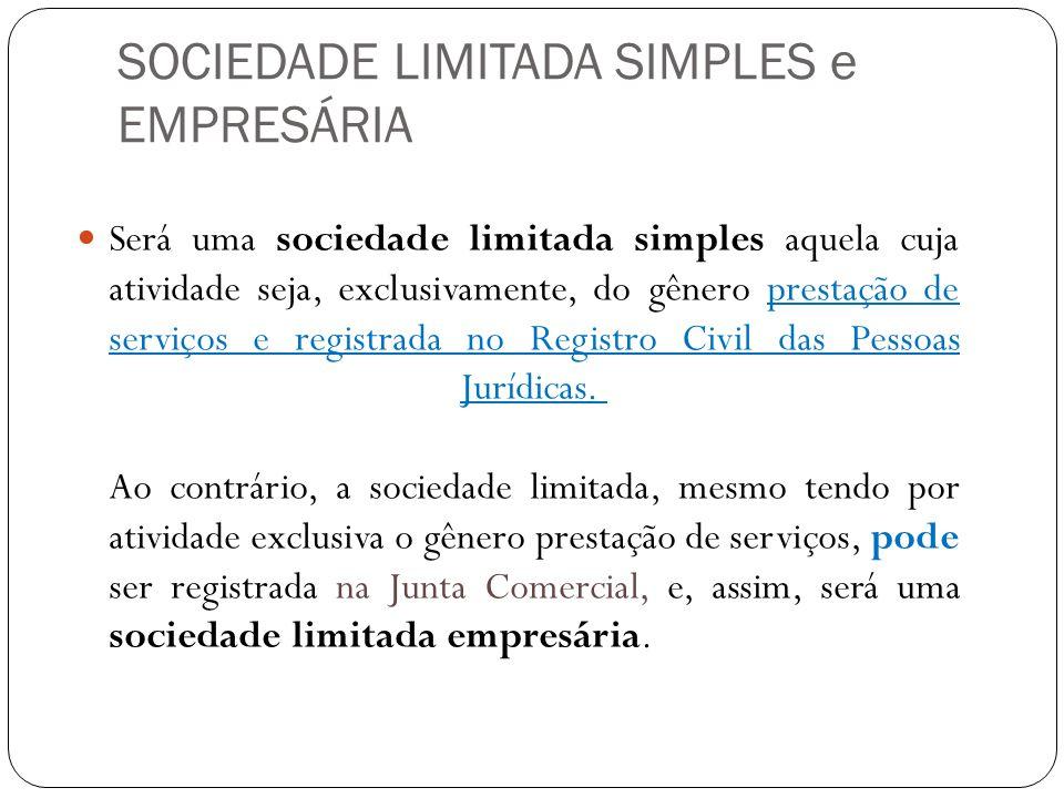 SOCIEDADE LIMITADA SIMPLES e EMPRESÁRIA