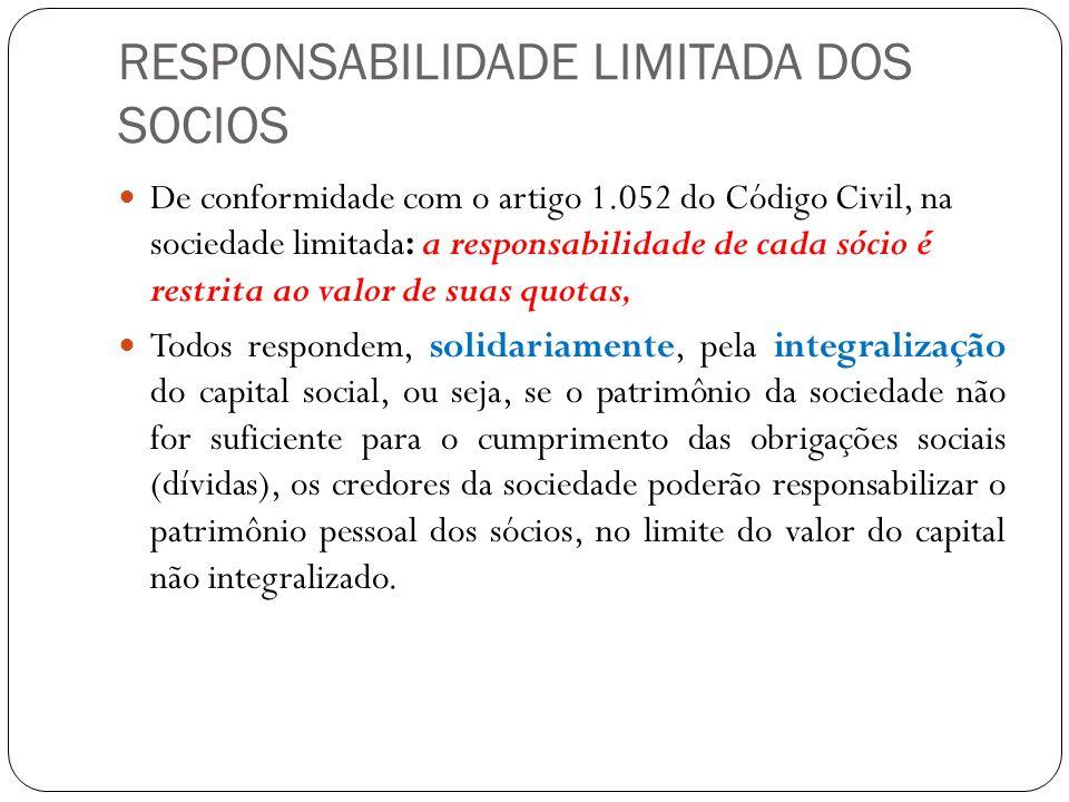 RESPONSABILIDADE LIMITADA DOS SOCIOS