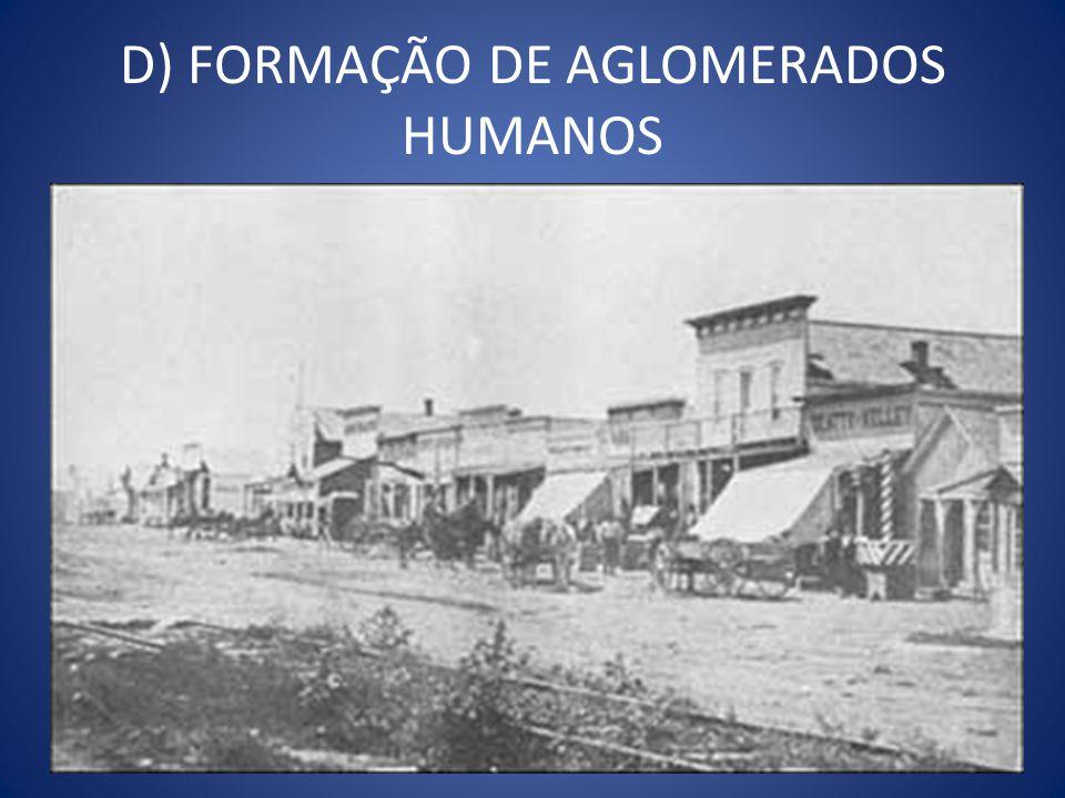 D) FORMAÇÃO DE AGLOMERADOS HUMANOS