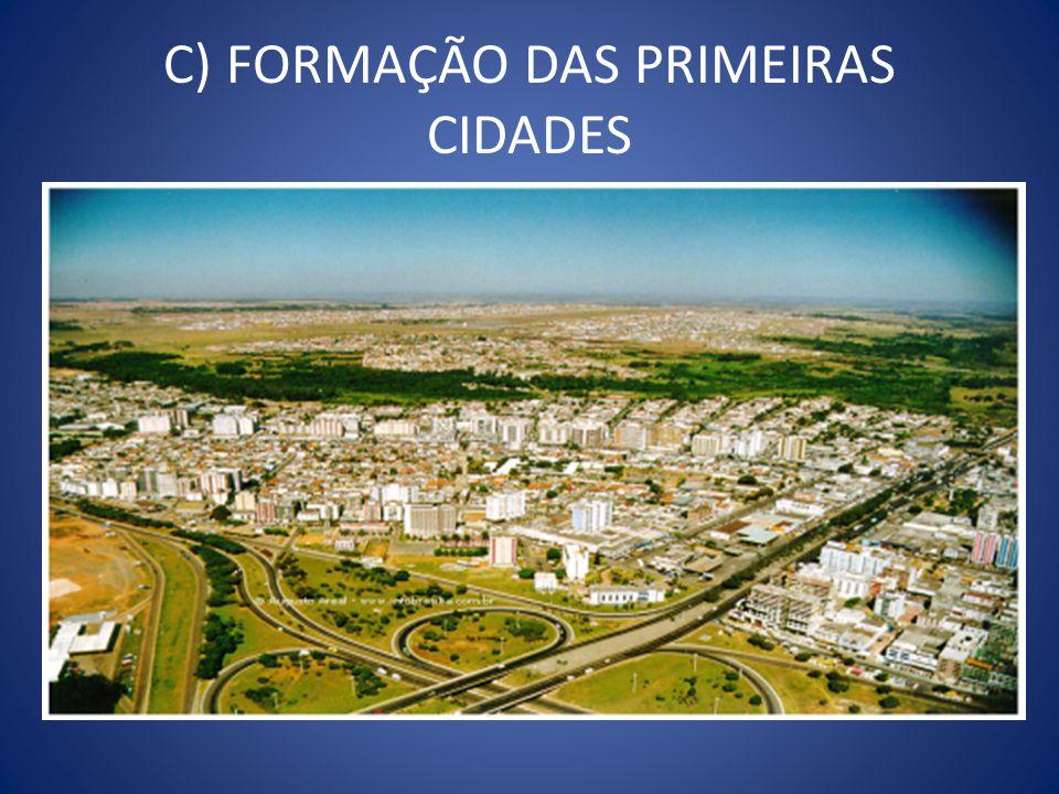 C) FORMAÇÃO DAS PRIMEIRAS CIDADES