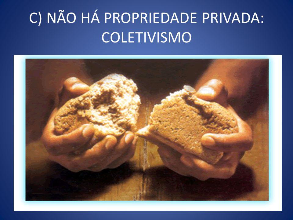 C) NÃO HÁ PROPRIEDADE PRIVADA: COLETIVISMO