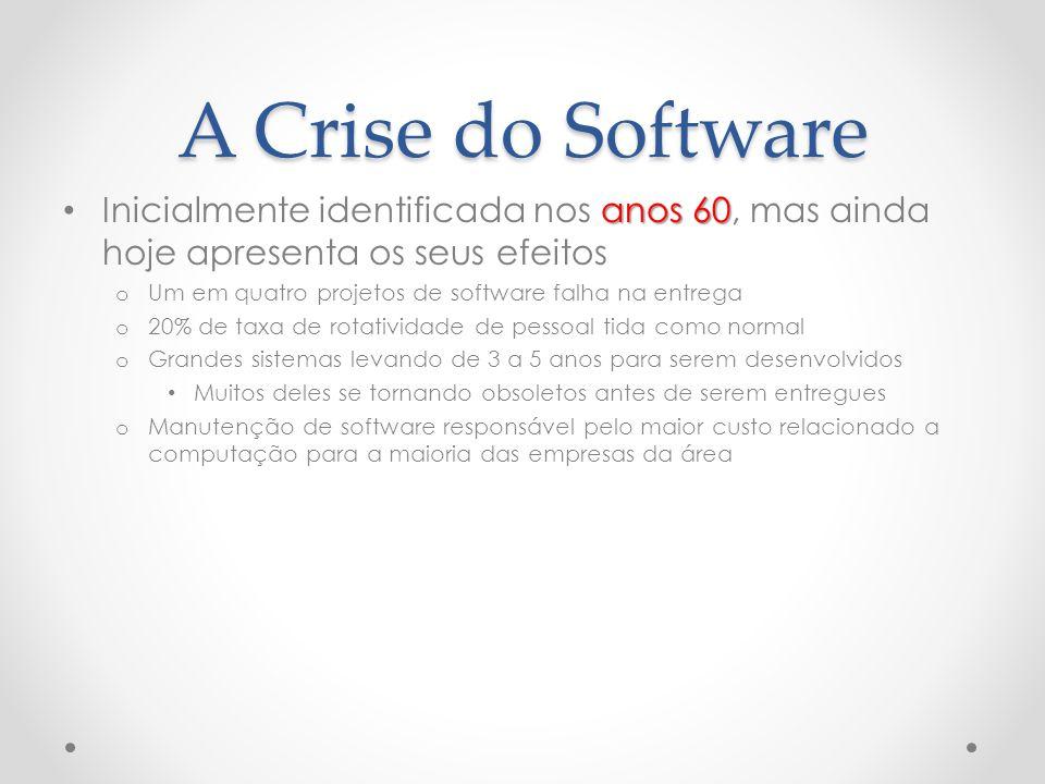 A Crise do Software Inicialmente identificada nos anos 60, mas ainda hoje apresenta os seus efeitos.