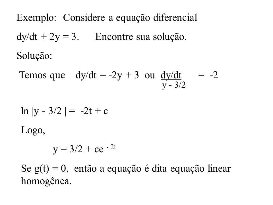 Exemplo: Considere a equação diferencial