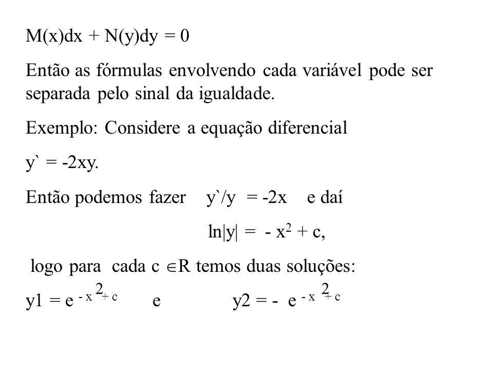 Exemplo: Considere a equação diferencial y` = -2xy.