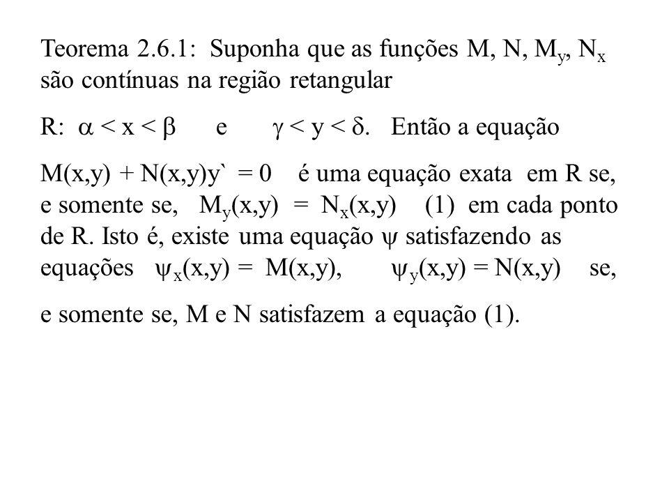 Teorema 2.6.1: Suponha que as funções M, N, My, Nx são contínuas na região retangular