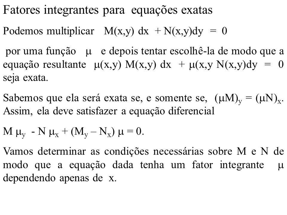 Fatores integrantes para equações exatas