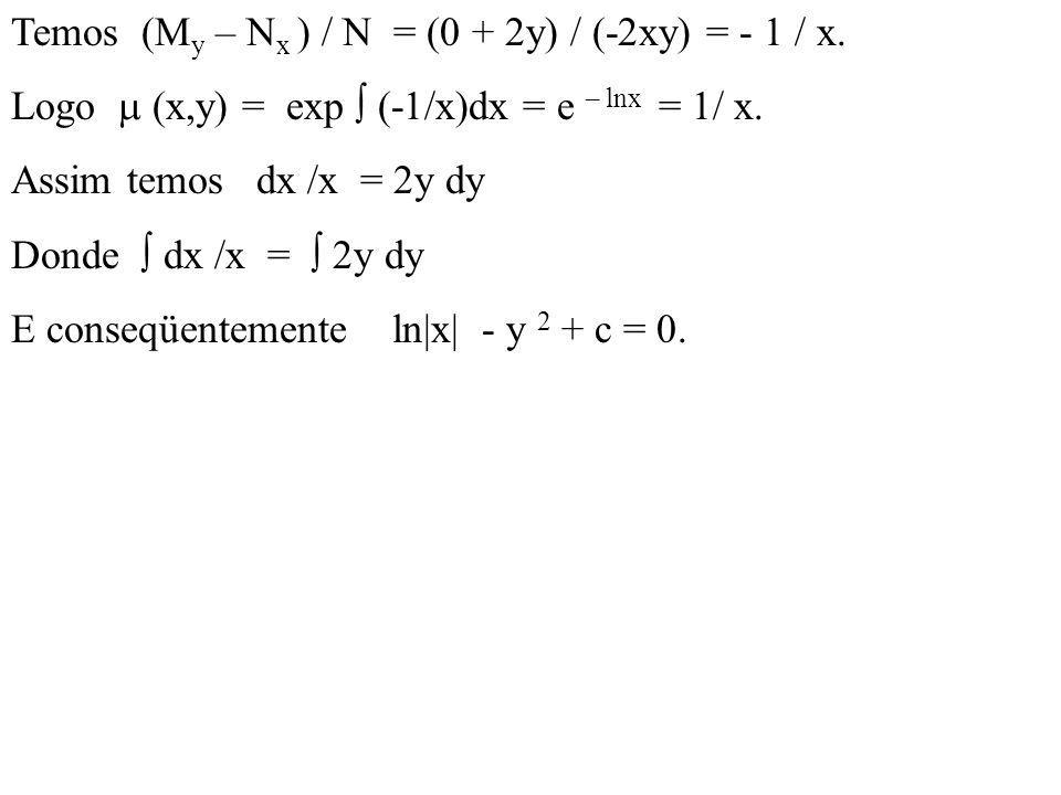 Temos (My – Nx ) / N = (0 + 2y) / (-2xy) = - 1 / x.
