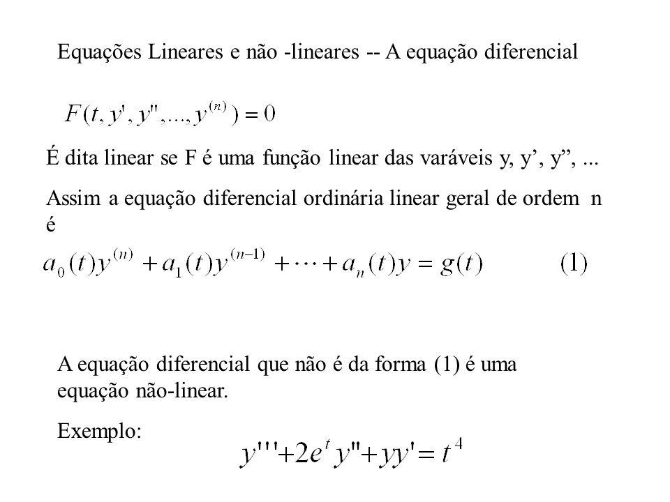 Equações Lineares e não -lineares -- A equação diferencial