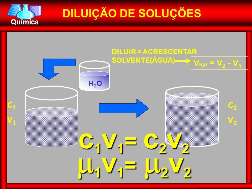 1v1= 2v2 c1v1= c2v2 DILUIÇÃO DE SOLUÇÕES VH2O = V2 - V1 C1 V1 C2 V2