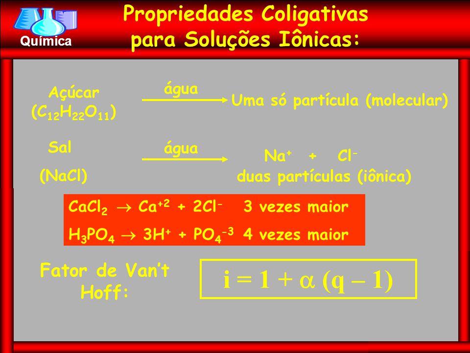 i = 1 +  (q – 1) Propriedades Coligativas para Soluções Iônicas: