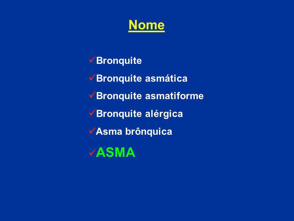 Nome Bronquite Bronquite asmática Bronquite asmatiforme