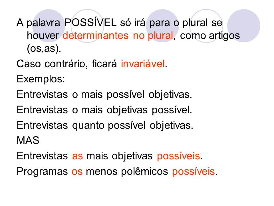 A palavra POSSÍVEL só irá para o plural se houver determinantes no plural, como artigos (os,as).