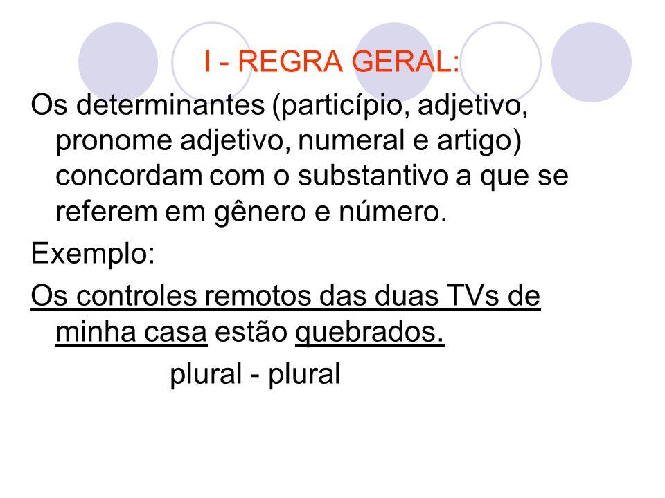 I - REGRA GERAL: