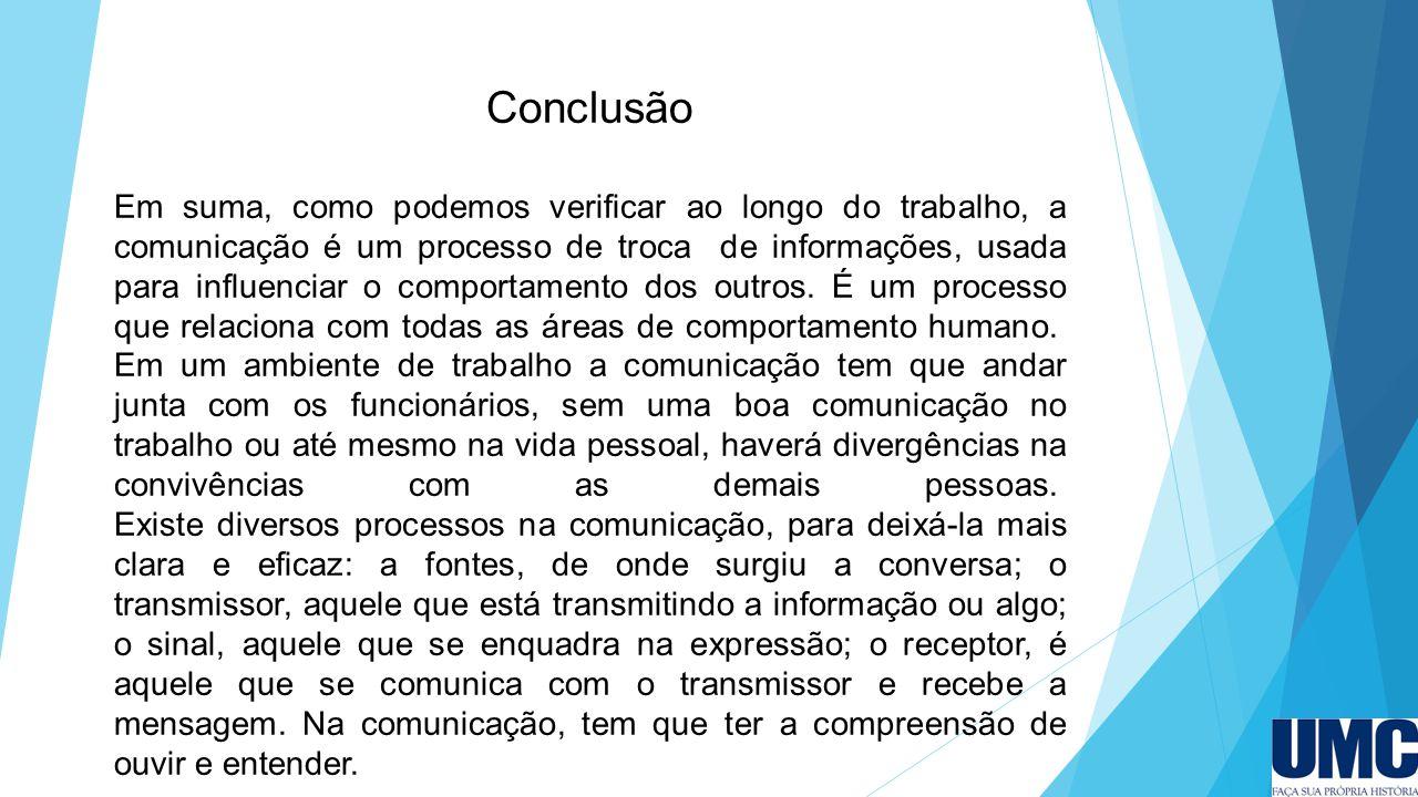 Conclusão Em suma, como podemos verificar ao longo do trabalho, a comunicação é um processo de troca de informações, usada para influenciar o comportamento dos outros.