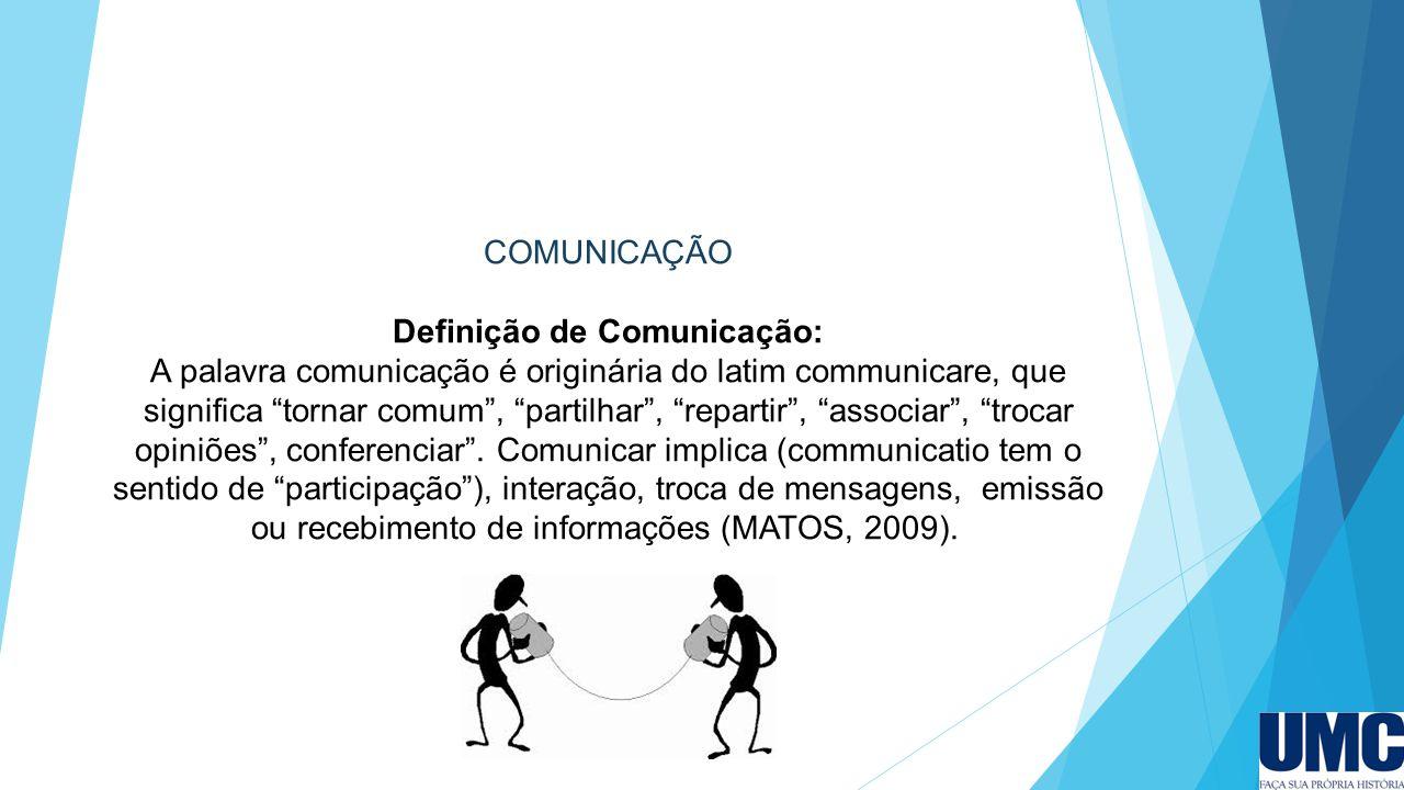COMUNICAÇÃO Definição de Comunicação: A palavra comunicação é originária do latim communicare, que significa tornar comum , partilhar , repartir , associar , trocar opiniões , conferenciar .