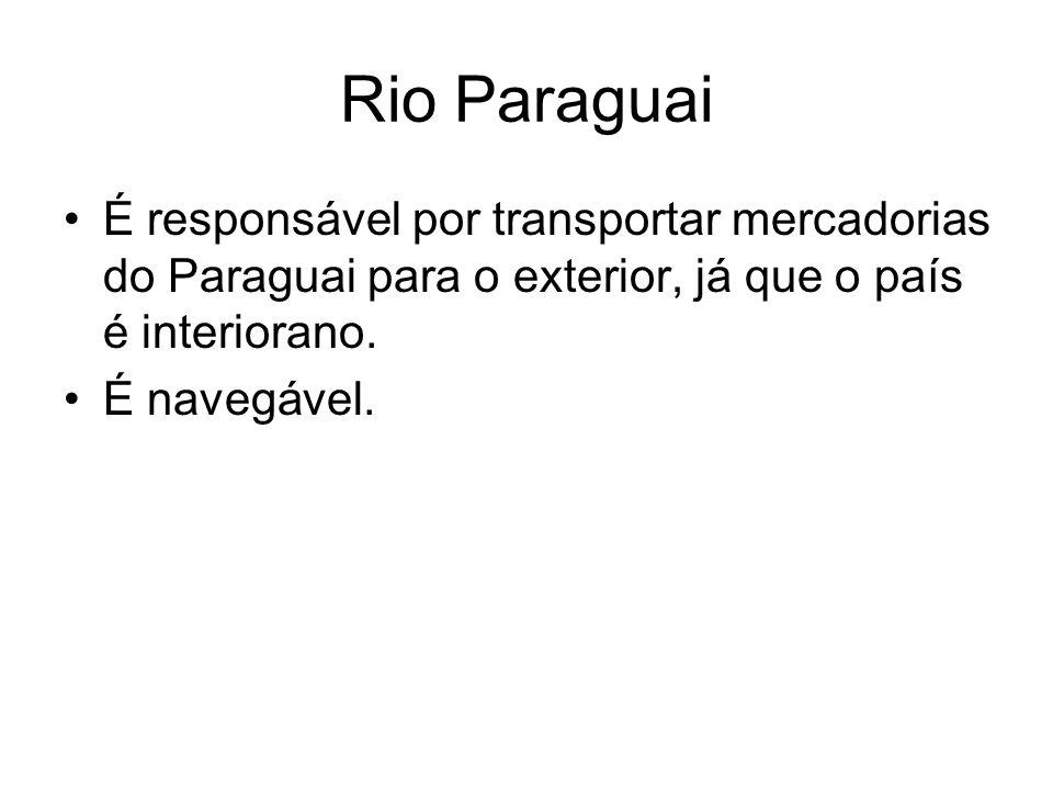 Rio Paraguai É responsável por transportar mercadorias do Paraguai para o exterior, já que o país é interiorano.