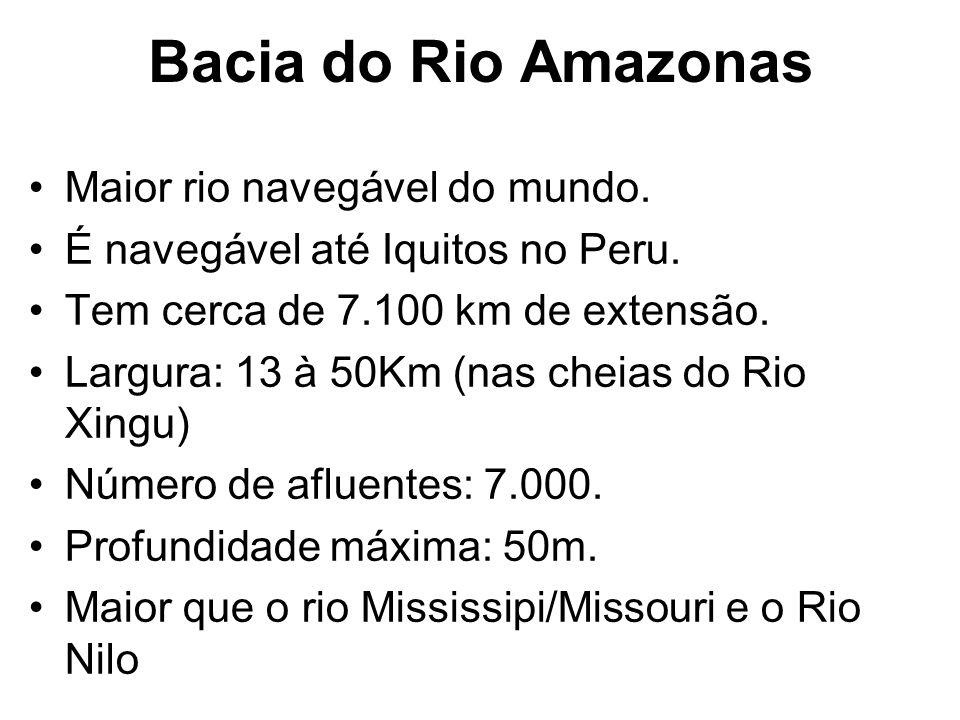 Bacia do Rio Amazonas Maior rio navegável do mundo.
