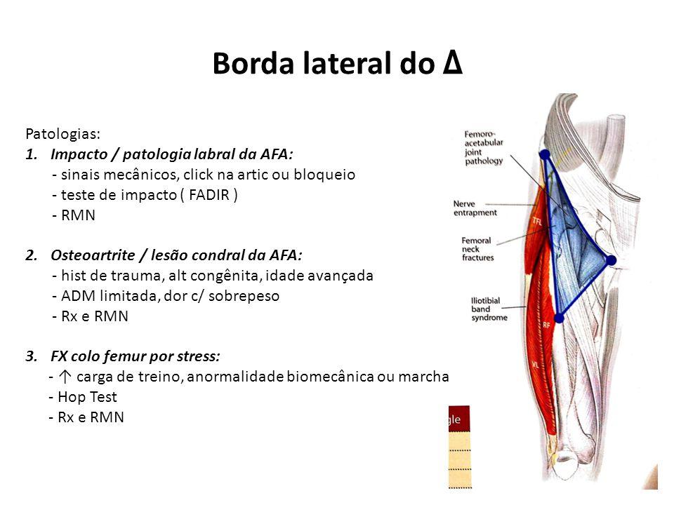 Borda lateral do Δ Patologias: Impacto / patologia labral da AFA: