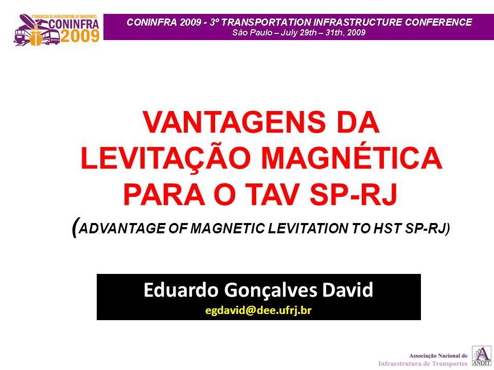 VANTAGENS DA LEVITAÇÃO MAGNÉTICA PARA O TAV SP-RJ
