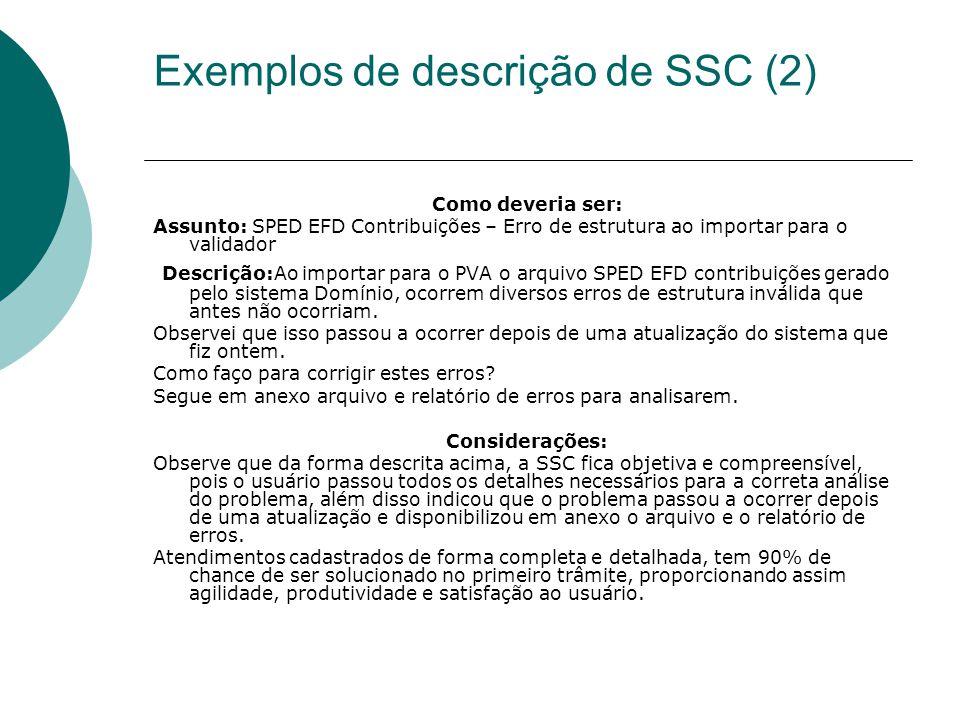Exemplos de descrição de SSC (2)