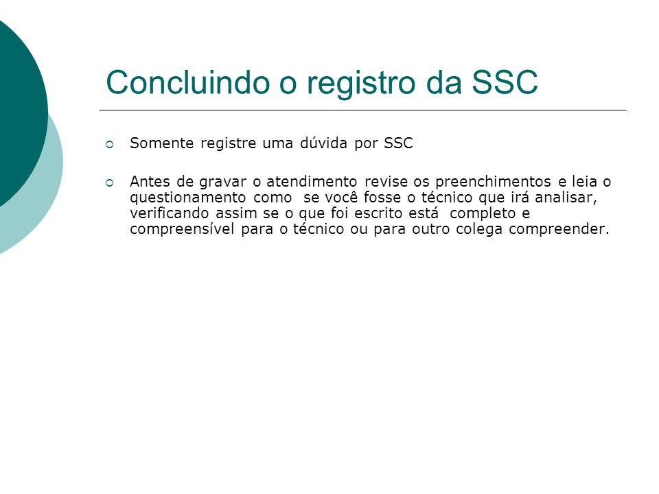 Concluindo o registro da SSC