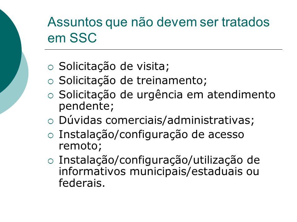 Assuntos que não devem ser tratados em SSC