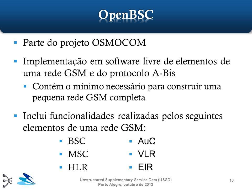 OpenBSC Parte do projeto OSMOCOM
