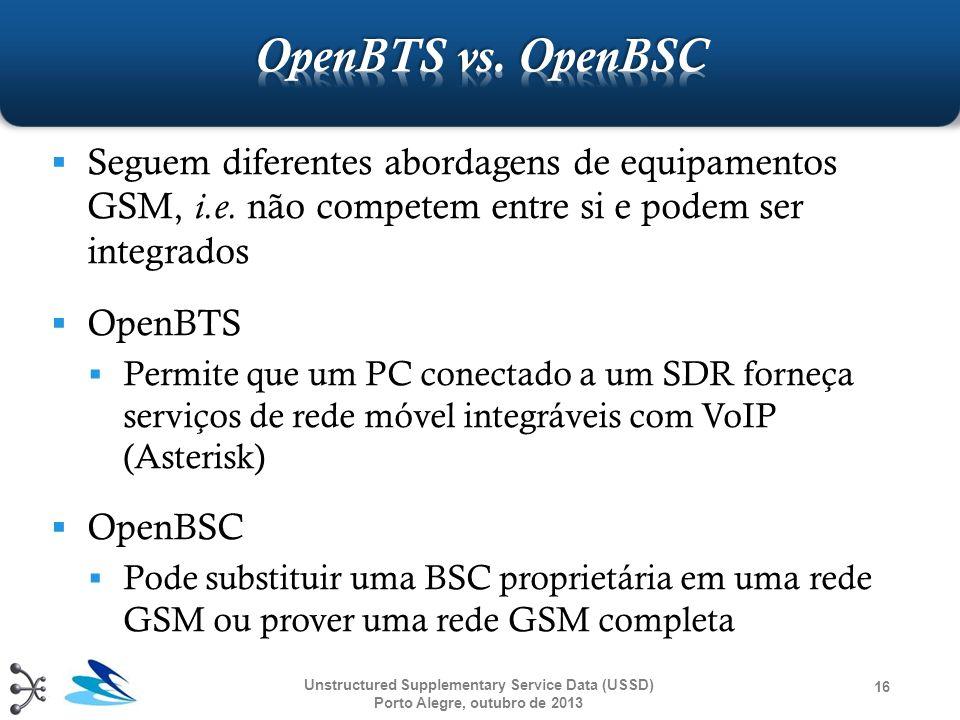 OpenBTS vs. OpenBSC Seguem diferentes abordagens de equipamentos GSM, i.e. não competem entre si e podem ser integrados.
