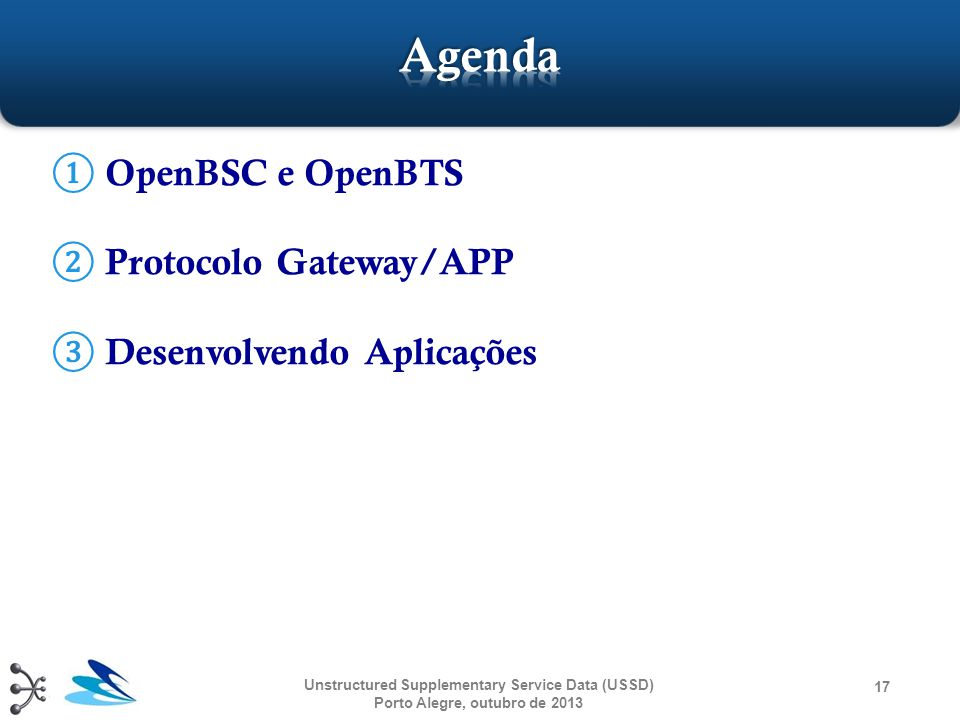 Agenda OpenBSC e OpenBTS Protocolo Gateway/APP