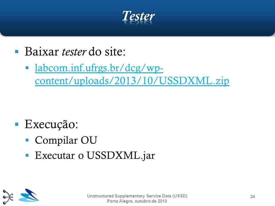 Tester Baixar tester do site: Execução: