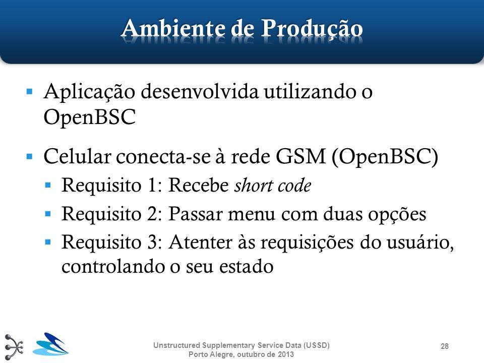 Ambiente de Produção Aplicação desenvolvida utilizando o OpenBSC