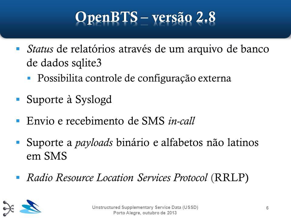 OpenBTS – versão 2.8 Status de relatórios através de um arquivo de banco de dados sqlite3. Possibilita controle de configuração externa.