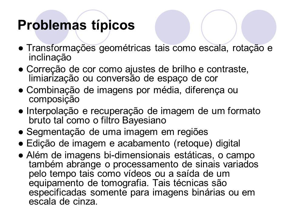 Problemas típicos ● Transformações geométricas tais como escala, rotação e inclinação.