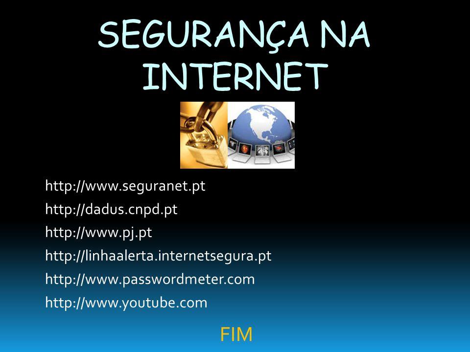 SEGURANÇA NA INTERNET FIM http://www.seguranet.pt http://dadus.cnpd.pt