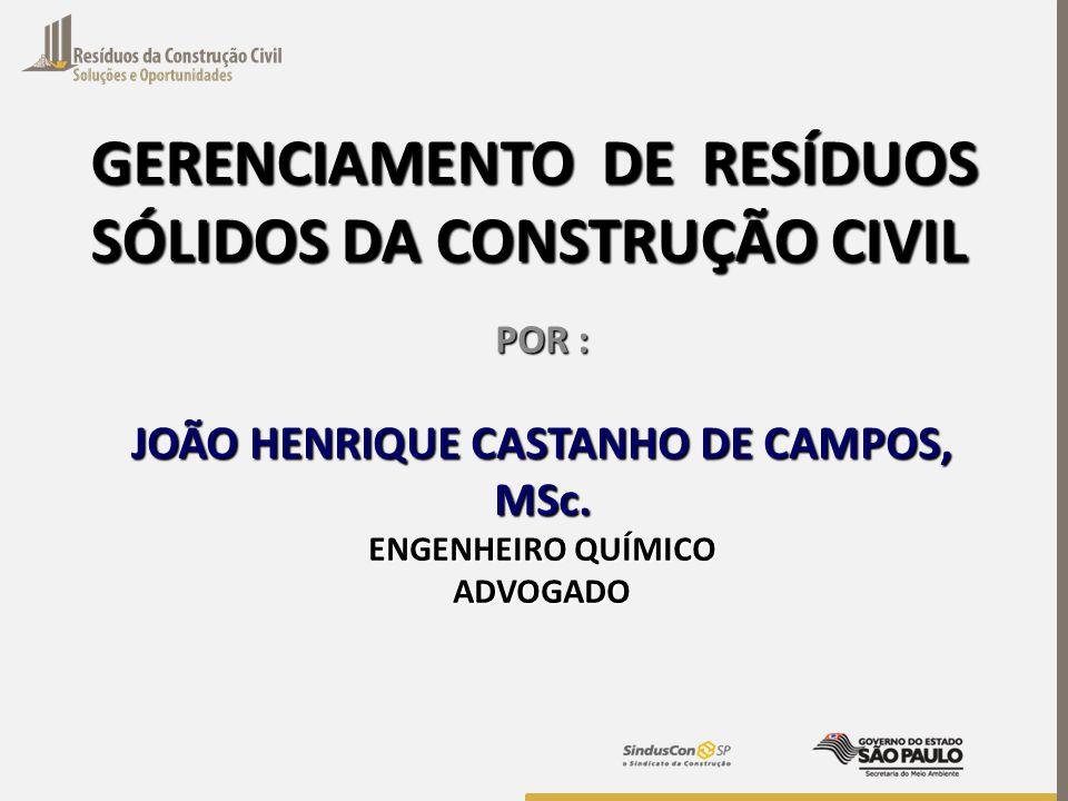 GERENCIAMENTO DE RESÍDUOS SÓLIDOS DA CONSTRUÇÃO CIVIL