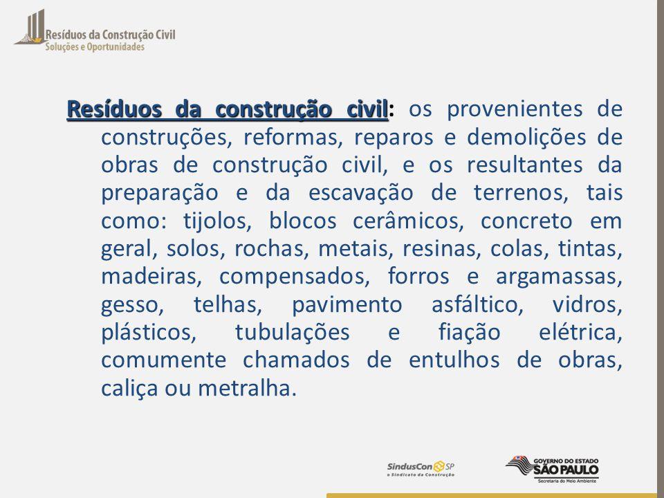 Resíduos da construção civil: os provenientes de construções, reformas, reparos e demolições de obras de construção civil, e os resultantes da preparação e da escavação de terrenos, tais como: tijolos, blocos cerâmicos, concreto em geral, solos, rochas, metais, resinas, colas, tintas, madeiras, compensados, forros e argamassas, gesso, telhas, pavimento asfáltico, vidros, plásticos, tubulações e fiação elétrica, comumente chamados de entulhos de obras, caliça ou metralha.