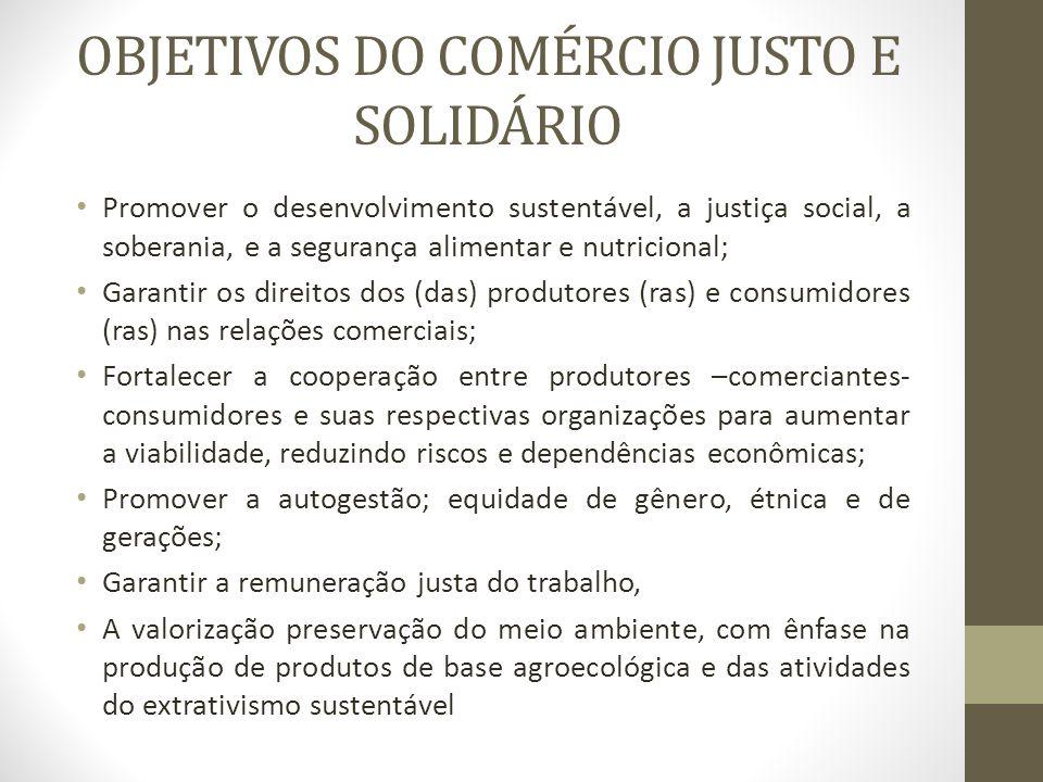 OBJETIVOS DO COMÉRCIO JUSTO E SOLIDÁRIO