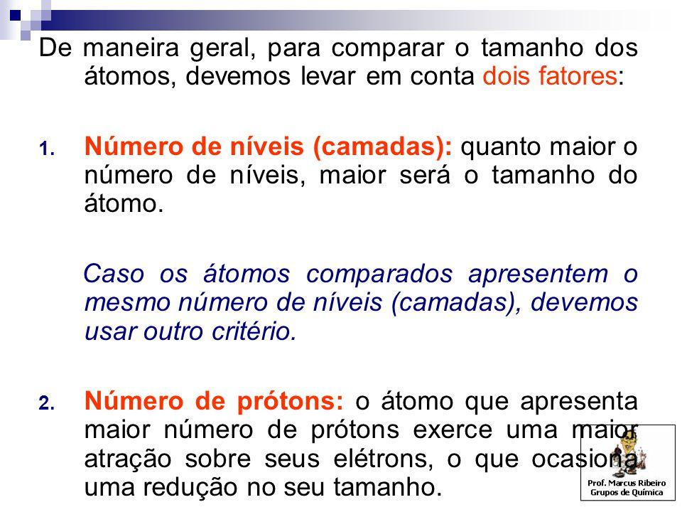 De maneira geral, para comparar o tamanho dos átomos, devemos levar em conta dois fatores:
