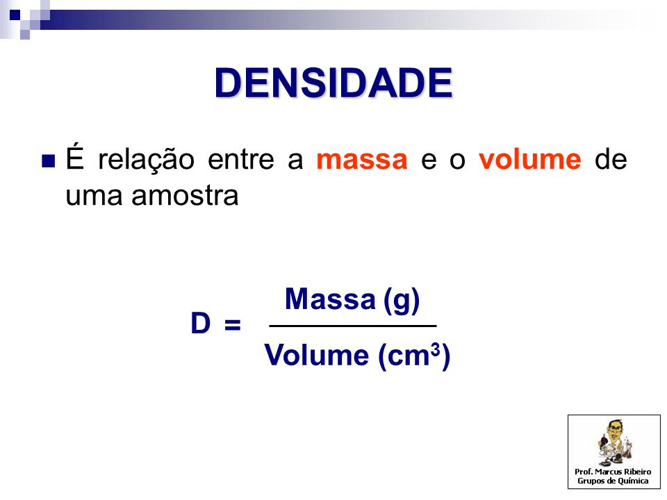DENSIDADE É relação entre a massa e o volume de uma amostra Massa (g)