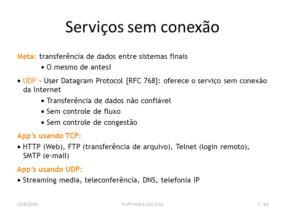 Serviços sem conexão Meta: transferência de dados entre sistemas finais.  O mesmo de antes!