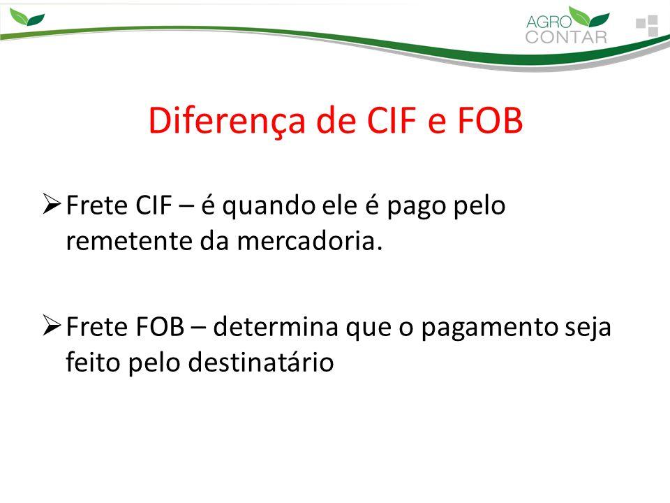 Diferença de CIF e FOB Frete CIF – é quando ele é pago pelo remetente da mercadoria.