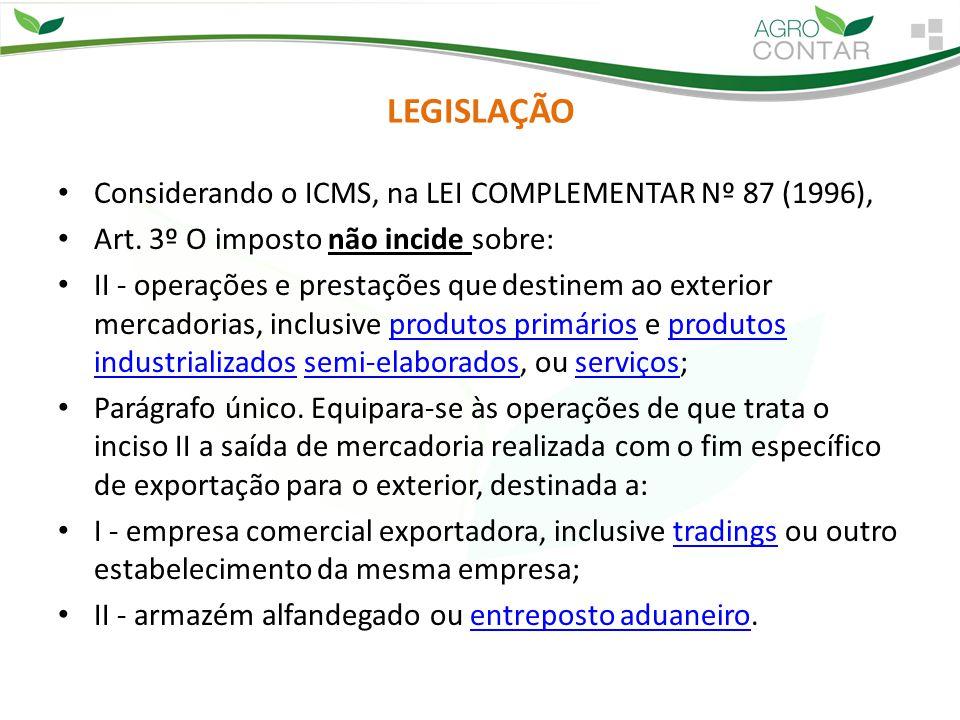 Considerando o ICMS, na LEI COMPLEMENTAR Nº 87 (1996),