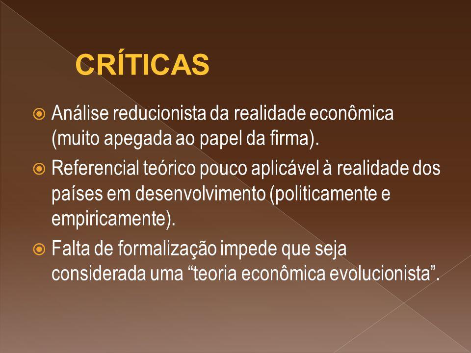 CRÍTICAS Análise reducionista da realidade econômica (muito apegada ao papel da firma).