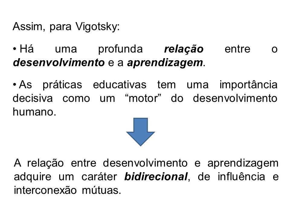 Assim, para Vigotsky: Há uma profunda relação entre o desenvolvimento e a aprendizagem.