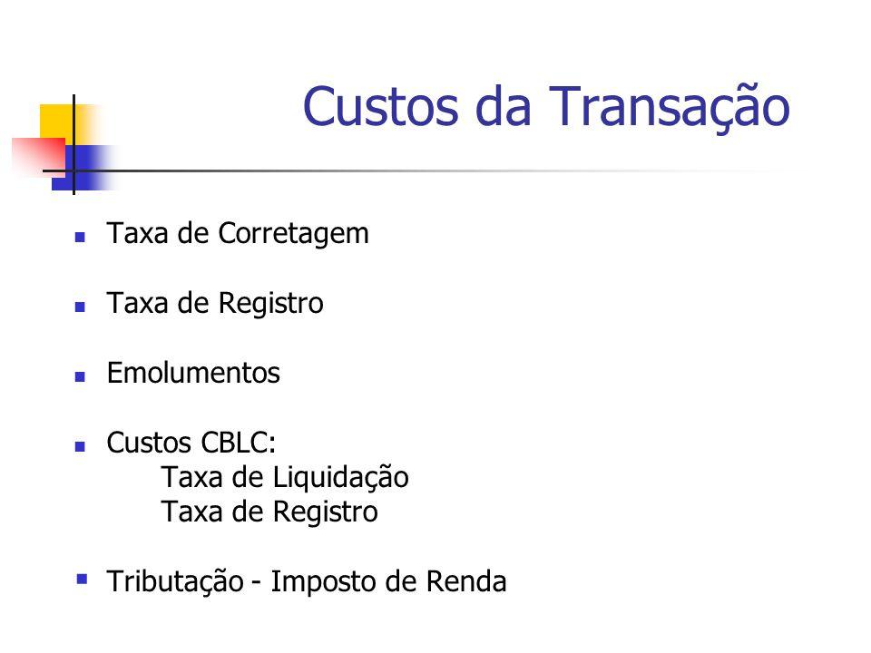 Custos da Transação Taxa de Corretagem Taxa de Registro Emolumentos
